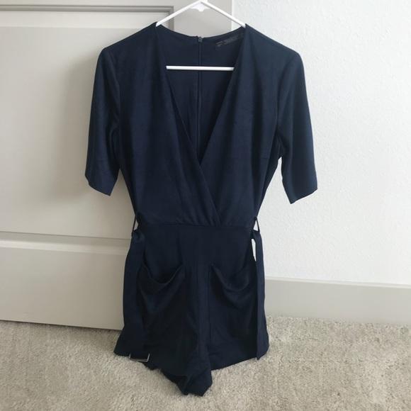 0c234d3b77b Zara faux suede jumpsuit navy blue. M 5af1dd9f2c705d5d7b8784f4